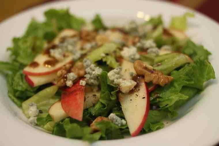 apple, walnut, and gorganzolo salad