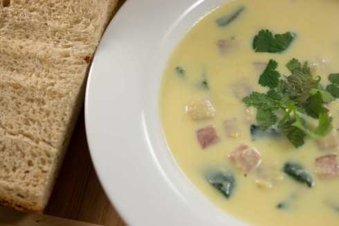creamy corn soup with ham and roasted poblanos