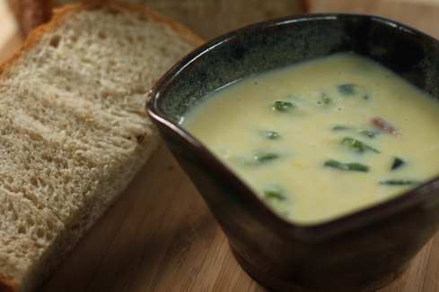 creamy corn soup with ham