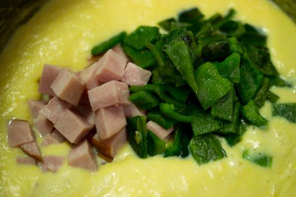 ham and poblano chiles in corn soup