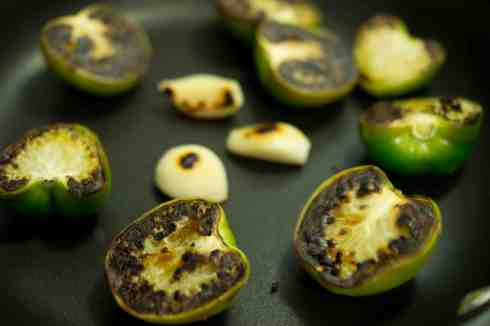 roasted tomatillos and garlic