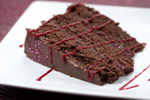 chocolate raspberry cake slice