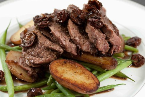 seared duck with balsamic cherry reduction