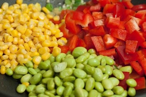 corn, edamame, red pepper