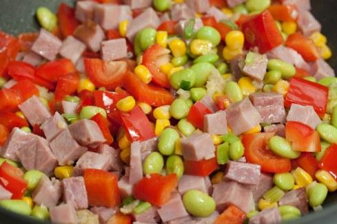 ham, edamame, corn, red pepper