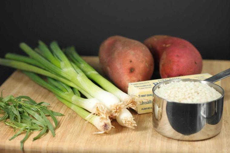 tarragon, scallions, sweet potatoes, butter, arborio rice