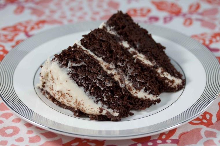 slice of chocolate cake with white chocolate cream cheese