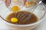 eggs into sugar and butter mixture