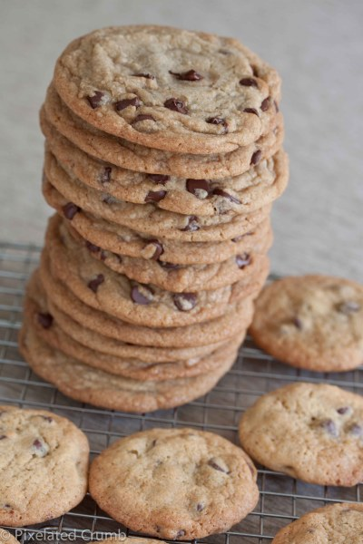 stack of giant chocolate chip cookies